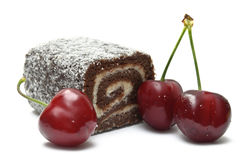 Coco roll bar with cherries Royalty Free Stock Photo