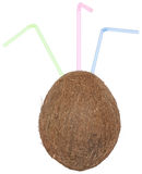 Coco with straw. Coco with straw on a white background Royalty Free Stock Photo
