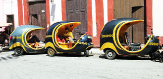 Coco Taxi Line. Three wheels motorbike, coco taxi line Royalty Free Stock Photography