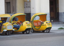 Coco Taxis In Havana Cuba Royalty Free Stock Photography