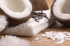 Coco and vanilla bath. Coco bath. coconuts, vanilla, salt, towels, bamboo, palm leaf. exotic scene Stock Images