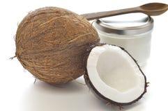 Coco y aceite de coco orgánico Fotografía de archivo libre de regalías