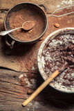 Cocoa as a component of homemade chocolate Stock Image