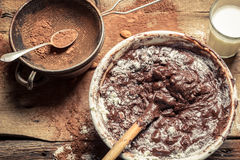 Cocoa as a component of homemade chocolate Royalty Free Stock Images