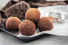Cocoa balls, chocolate balls cakes. royalty free stock image