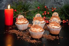 Cocoa Banana Halloween cupcakes with tombstone royalty free stock images