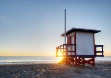 Cocoa Beach, Florida. At Sunrise with Lifeguard Station Stock Photo