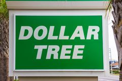 Cocoa beach, USA - April 29, 2018: Dollar Tree wellcome sign or shop or store logo at Cocoa beach, USA royalty free stock photo