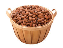 Cocoa Bean Basket (with clipping path) Royalty Free Stock Photography
