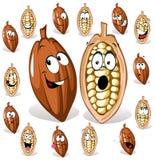 Cocoa bean cartoon. With many expressions Stock Photos