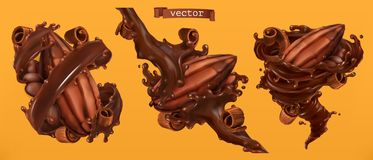 Cocoa bean and chocolate shavings with splashes. 3d vector vector illustration
