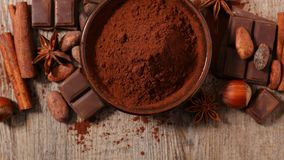 Cocoa and bean. Close up on cocoa and bean Royalty Free Stock Photos