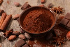 Cocoa and bean. Close up on cocoa and bean Stock Photo