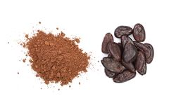 Cocoa bean and cocoa powder isolated on white background top view Royalty Free Stock Photos