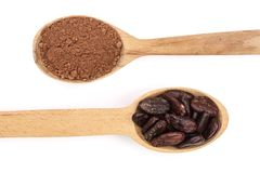 Cocoa bean and cocoa powder in wooden spoon isolated on white background top view Royalty Free Stock Photo
