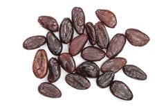Cocoa bean isolated on white background close-up top view Royalty Free Stock Images