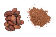 Cocoa bean and cocoa powder isolated on white background top view Stock Image