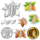 Cocoa bean symbols. Label,sketch and signs isolated on white background vector illustration