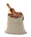 Cocoa beans in a bag Royalty Free Stock Photography