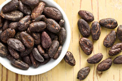 Cocoa beans in bowl Stock Photography