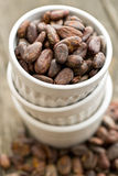 Cocoa beans in bowl Royalty Free Stock Photos
