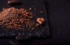 Cocoa beans and cacao powder on dark background. Closeup stock images