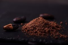 Cocoa beans and cacao powder on dark background royalty free stock images
