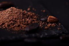 Cocoa beans and cacao powder on dark background stock photo