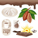 Cocoa beans and chocolate Stock Photography