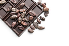 Cocoa beans and chocolate bars Royalty Free Stock Image