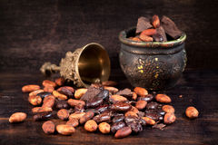Cocoa beans and chocolate Stock Photos