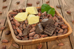 Cocoa beans, cocoa butter and cocoa mass Stock Image