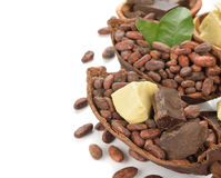Cocoa beans, cocoa butter and cocoa mass Stock Photo