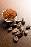 Cocoa beans and cocoa powder Royalty Free Stock Images
