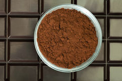 Cocoa beans and cocoa powder Stock Image
