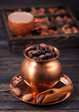 Cocoa beans and cup cocoa Stock Photo