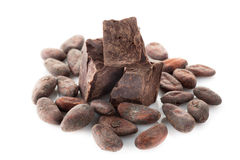 Cocoa beans and dark chocolate Royalty Free Stock Image