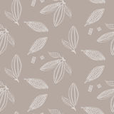 Cocoa beans outline seamless pattern. Chocolate taupe background. Stock Image