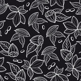 Cocoa beans seamless pattern Royalty Free Stock Images