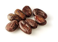 Cocoa beans  on white Royalty Free Stock Photo