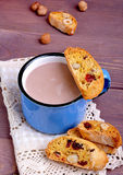 Cocoa with  biscotti. Cocoa in blue mug with  biscotti Royalty Free Stock Photos