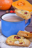 Cocoa with  biscotti. Cocoa in blue mug with  biscotti Stock Images