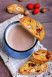 Cocoa with  biscotti. Cocoa in blue mug with  biscotti Royalty Free Stock Photography
