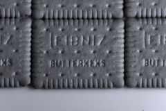 Leibniz-Keks, German brand, cocoa biscuits background Stock Photography
