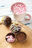 Cocoa bombs are black chocolate shells filled with cocoa powder and marshmallows