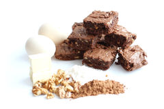Cocoa brownies and ingredients Stock Image