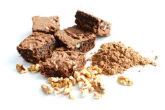 Cocoa brownies and ingredients Stock Photo