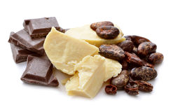 Cocoa butter vith nibs and chocolate. Royalty Free Stock Photography