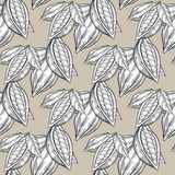 Cocoa, cacao beans hand drawn sketch seamless vector pattern. For templates, web, design, invitations, banners. Beige background Stock Photos