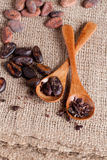 Cocoa (cacao) beans, top view. Cocoa (cacao) beans, vertical, close up Stock Photo